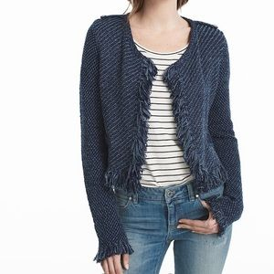 WHBM Long Sleeve Fringe Sweater Jacket